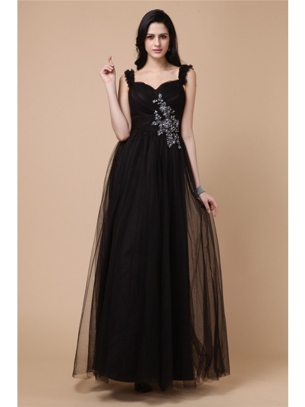 A-Line Net Straps Sleeveless Ankle-Length With Beading Dresses