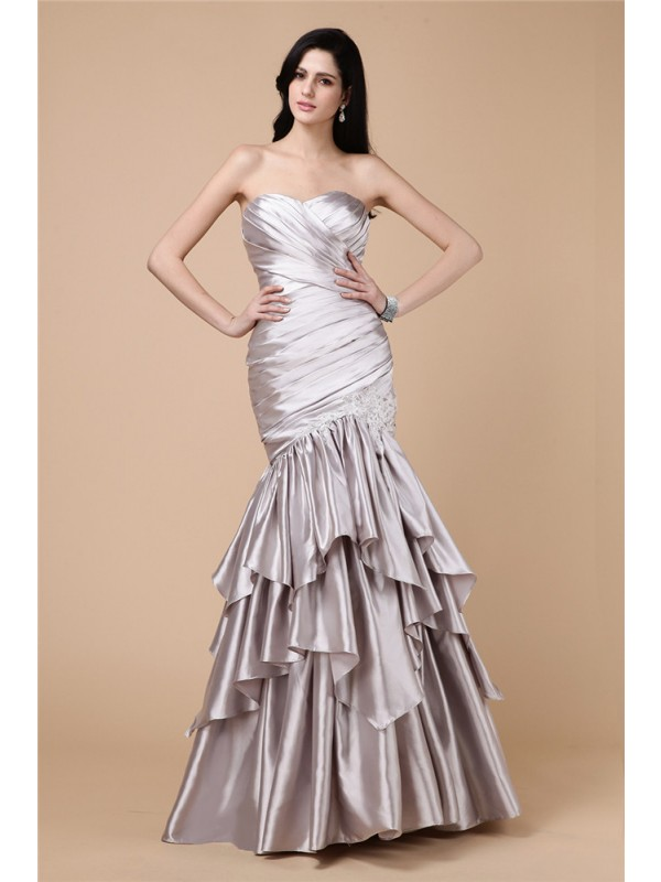 Mermaid Elastic Woven Satin Strapless Sleeveless Floor-Length With Pleats Dresses