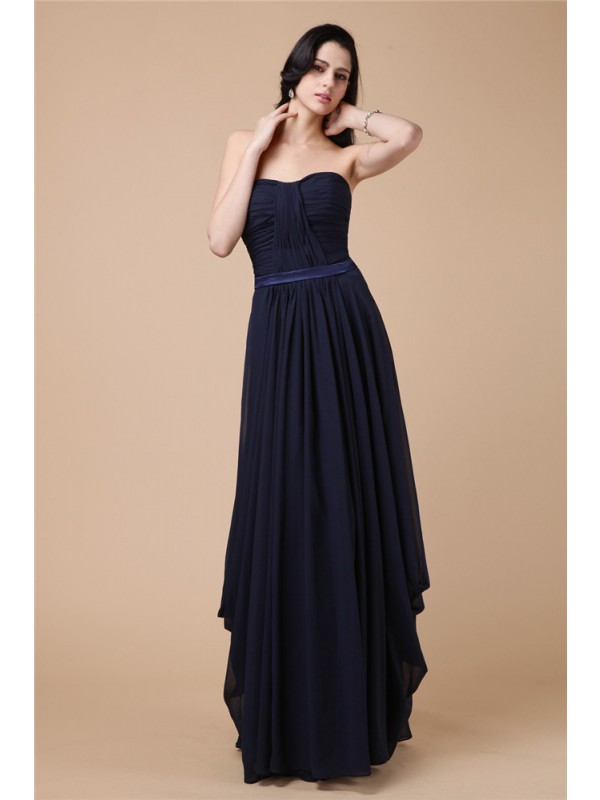 Sheath Chiffon Strapless Sleeveless Floor-Length With Pleats Dresses