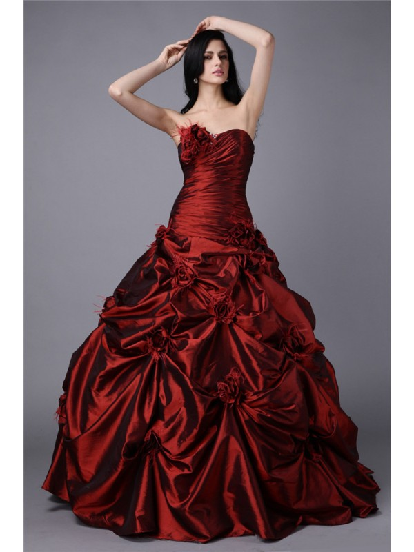 Ball Gown Taffeta Strapless Sleeveless Floor-Length With Hand-Made Flower Dresses