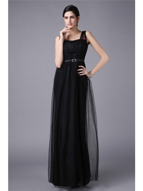 Sheath Net Straps Sleeveless Floor-Length With Sash/Ribbon/Belt Dresses