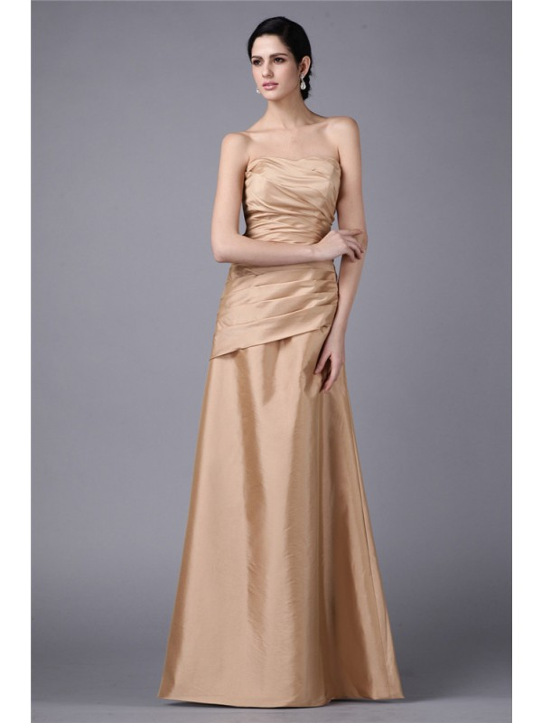 Sheath Taffeta Strapless Sleeveless Floor-Length With Pleats Dresses