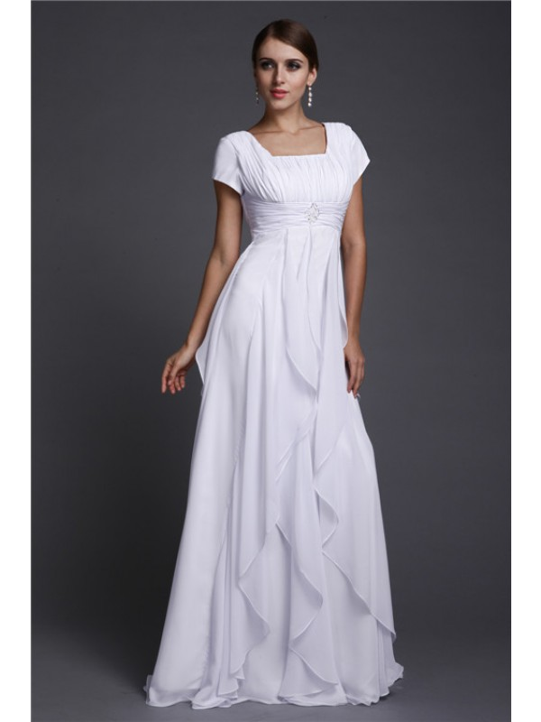 A-Line Chiffon Square Short Sleeves Floor-Length With Ruffles Dresses
