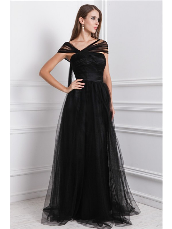 A-Line Net Bateau Sleeveless Floor-Length With Ruffles Dresses