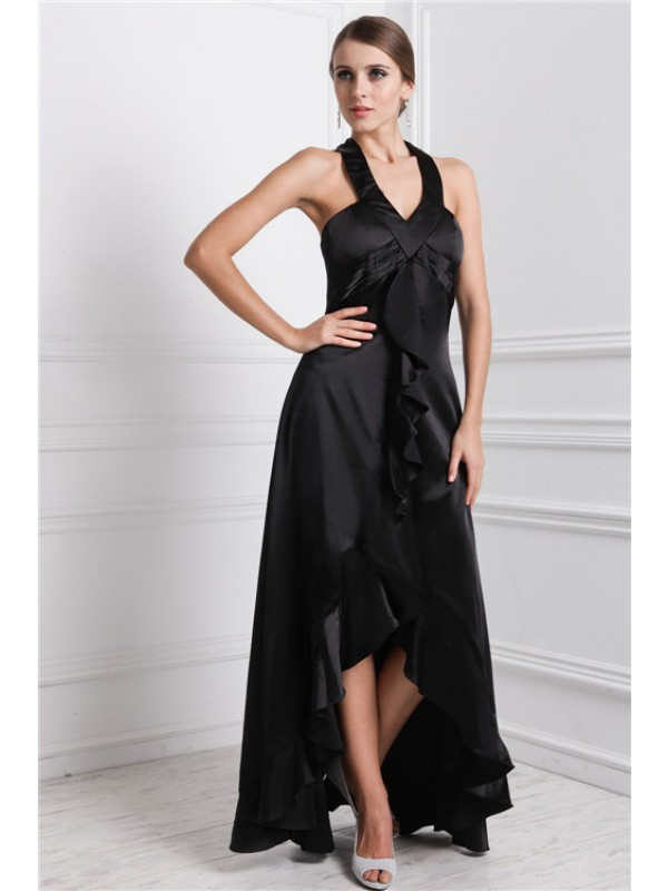 A-Line Silk like Satin Bateau Sleeveless Asymmetrical With Ruffles Dresses