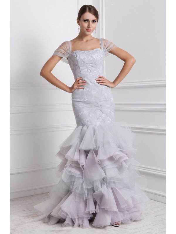 Mermaid Organza Straps Short Sleeves Floor-Length With Ruffles Dresses