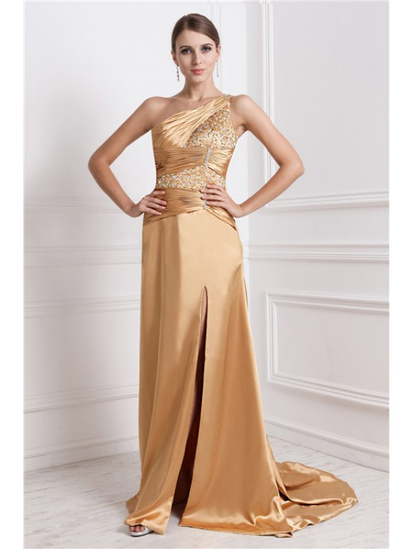 A-Line Elastic Woven Satin One-Shoulder Sleeveless Sweep/Brush Train With Beading Dresses