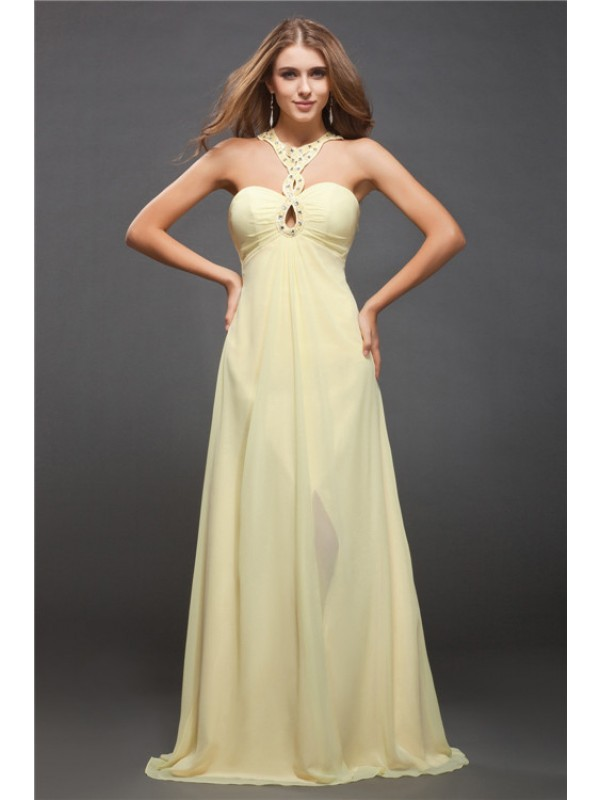 Sheath Chiffon Halter Sleeveless Floor-Length With Beading Dresses