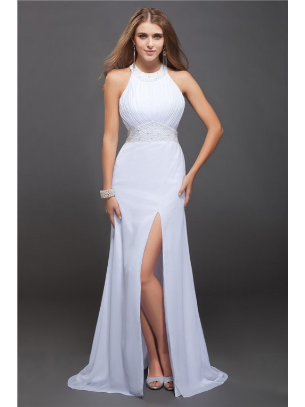 Sheath Chiffon Jewel Sleeveless Floor-Length With Beading Dresses