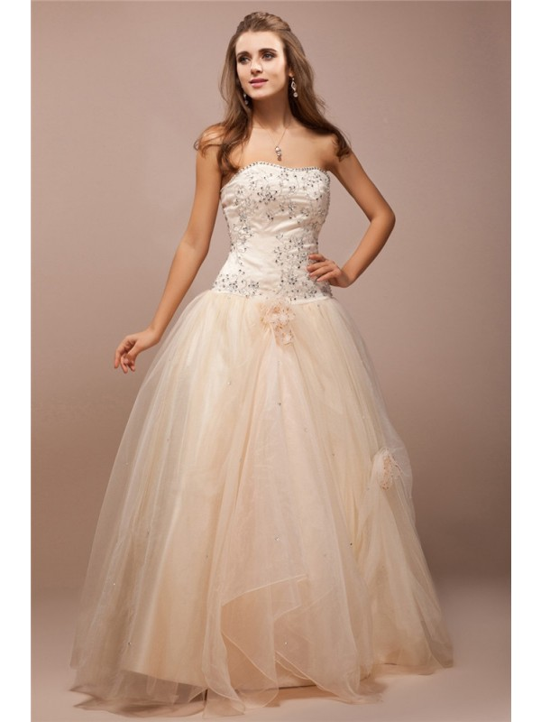 Ball Gown Satin Strapless Sleeveless Floor-Length With Beading Dresses