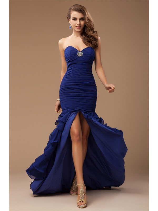 Mermaid Chiffon Sweetheart Sleeveless Sweep/Brush Train With Beading Dresses