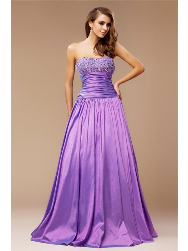 A-Line Taffeta Strapless Sleeveless Floor-Length With Beading Dresses