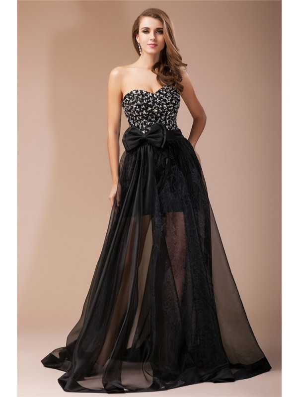 Sheath Elastic Woven Satin Sweetheart Sleeveless Floor-Length With Beading Dresses
