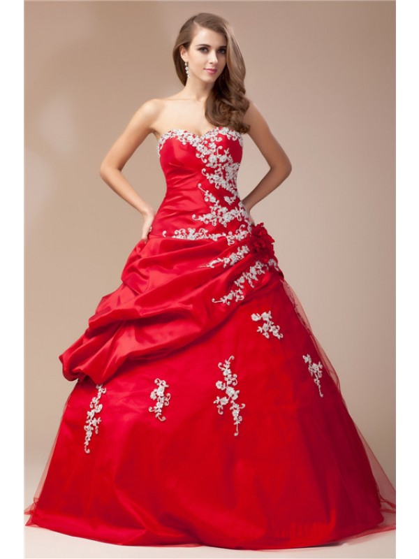 Ball Gown Taffeta Sweetheart Sleeveless Floor-Length With Net Dresses