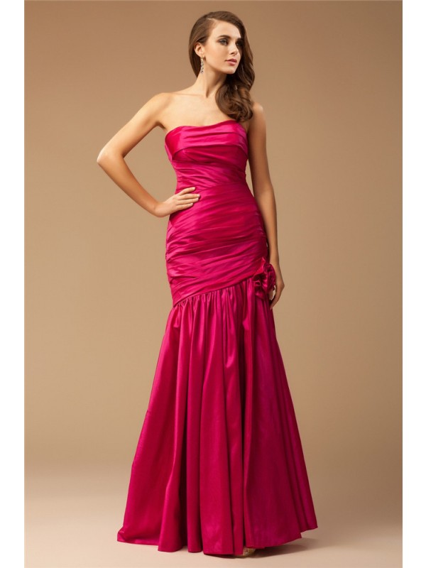 Mermaid Taffeta Strapless Sleeveless Floor-Length With Ruffles Dresses