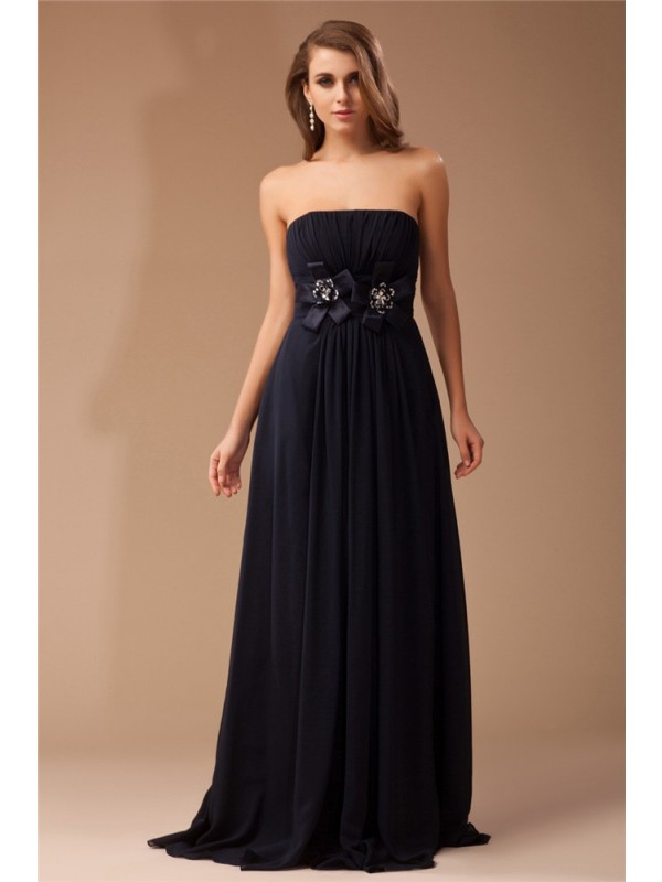 Sheath Chiffon Strapless Sleeveless Floor-Length With Ruffles Dresses