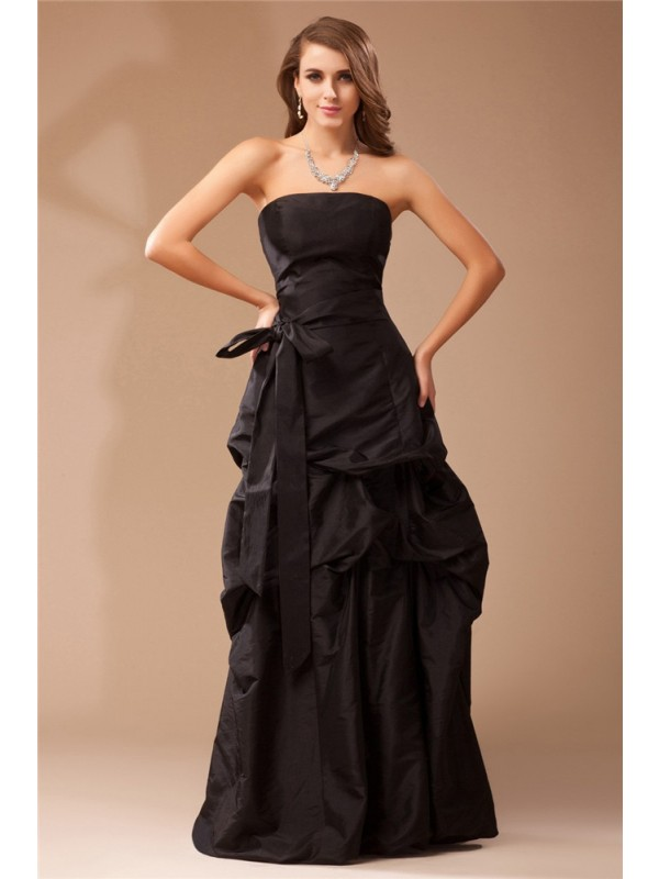 A-Line Taffeta Strapless Sleeveless Floor-Length With Ruffles Dresses