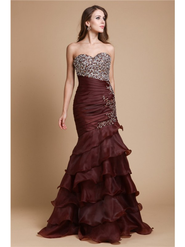 Mermaid Organza Sweetheart Sleeveless Floor-Length With Beading Dresses