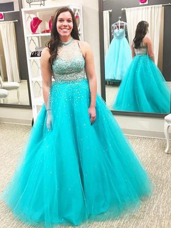 Ball Gown High Neck Sleeveless With Beading Floor-Length Tulle Plus Size Dresses