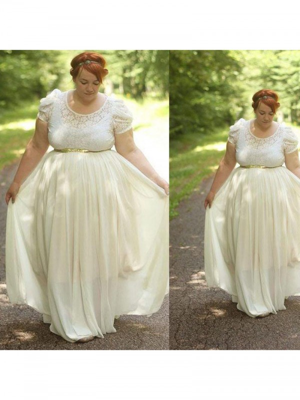 A-Line Scoop Short Sleeves With Lace Floor-Length Chiffon Plus Size Dresses