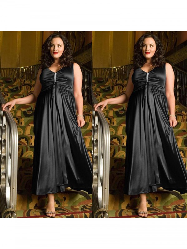 A-Line V-neck Sleeveless With Beading Ankle-Length Elastic Woven Satin Plus Size Dresses