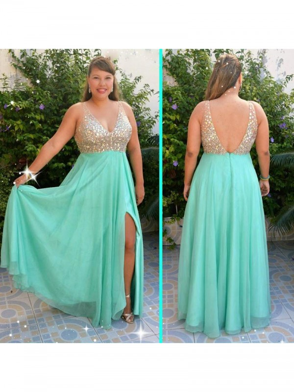 A-Line V-neck Sleeveless With Beading Floor-Length Chiffon Plus Size Dresses