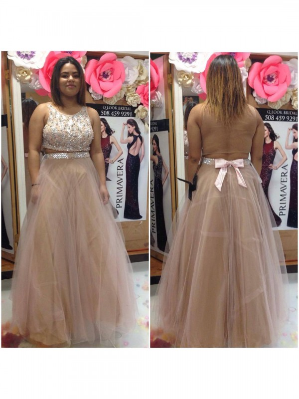 A-Line Scoop Sleeveless With Beading Floor-Length Tulle Plus Size Dresses