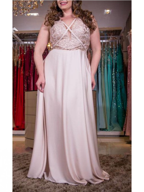 A-Line V-neck Sleeveless With Applique Floor-Length Elastic Woven Satin Plus Size Dresses