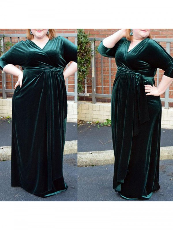 Sheath V-neck 1/2 Sleeves With Ruched Floor-Length Velvet Plus Size Dresses