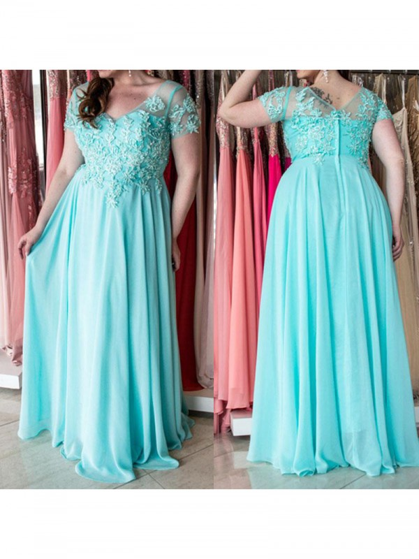 A-Line Sweetheart Short Sleeves With Applique Floor-Length Chiffon Plus Size Dresses