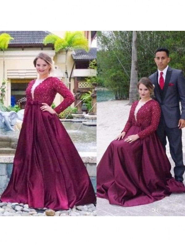A-Line V-neck Long Sleeves With Beading Sweep/Brush Train Satin Plus Size Dresses