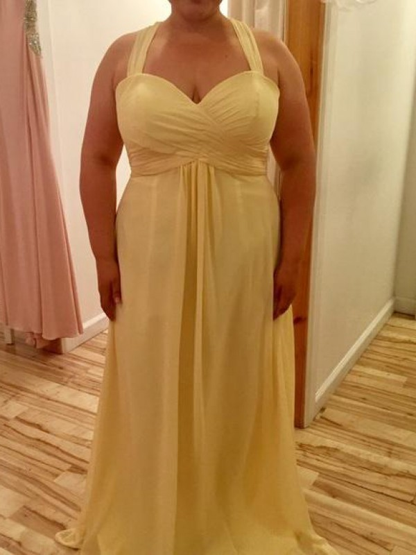 A-Line Halter Sleeveless With Ruched Floor-Length Chiffon Plus Size Dresses