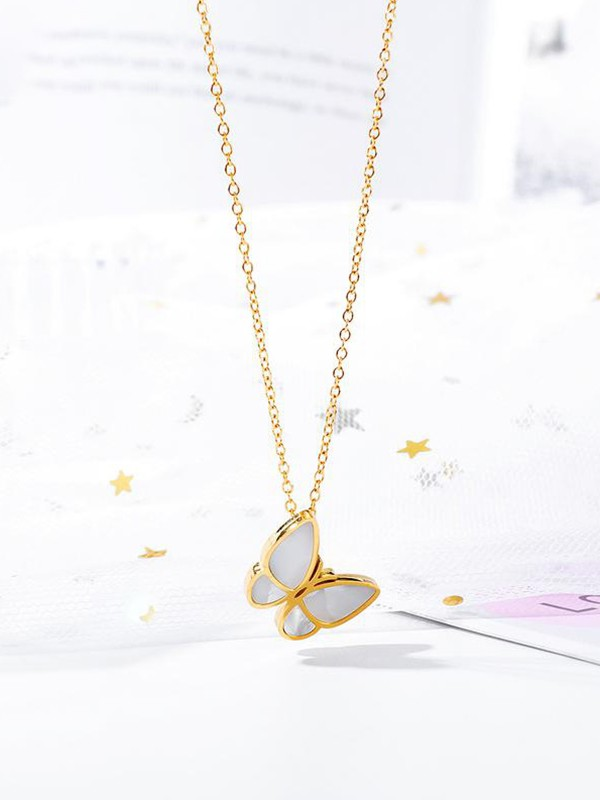 Hot Sale Glamorous Titanium With Butterfly Necklaces