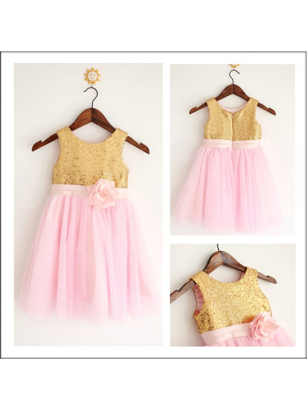 A-Line Tulle Scoop Sleeveless Tea-Length With Sequin Flower Girl Dresses