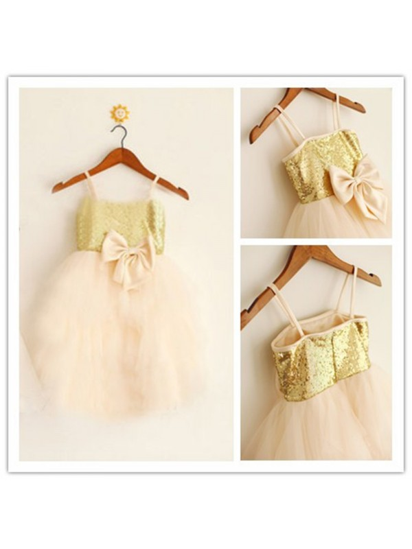 A-Line Tulle Spaghetti Straps Sleeveless Tea-Length With Sequin Flower Girl Dresses
