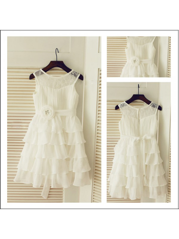 A-Line Chiffon Scoop Sleeveless Tea-Length With Layers Flower Girl Dresses