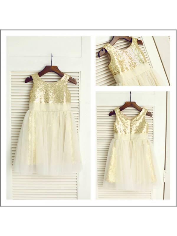 A-Line Sequins Scoop Sleeveless Tea-Length With Sequin Flower Girl Dresses