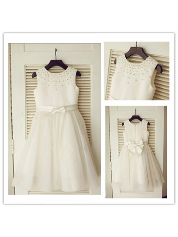 A-Line Tulle Scoop Sleeveless Tea-Length With Bowknot Flower Girl Dresses