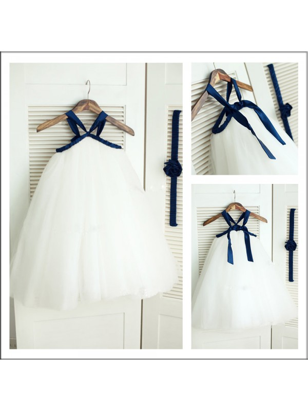 A-Line Tulle Spaghetti Straps Sleeveless Tea-Length With Bowknot Flower Girl Dresses