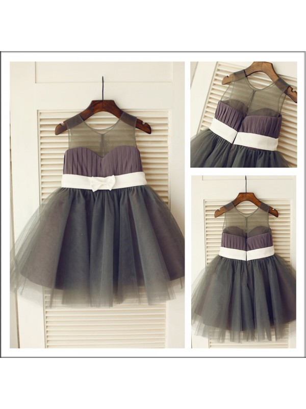 A-Line Tulle Scoop Sleeveless Knee-Length With Sash/Ribbon/Belt Flower Girl Dresses