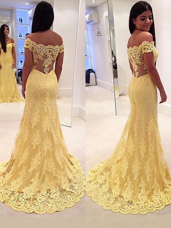 Mermaid Lace Off-the-Shoulder Sweep/Brush Train Dresses
