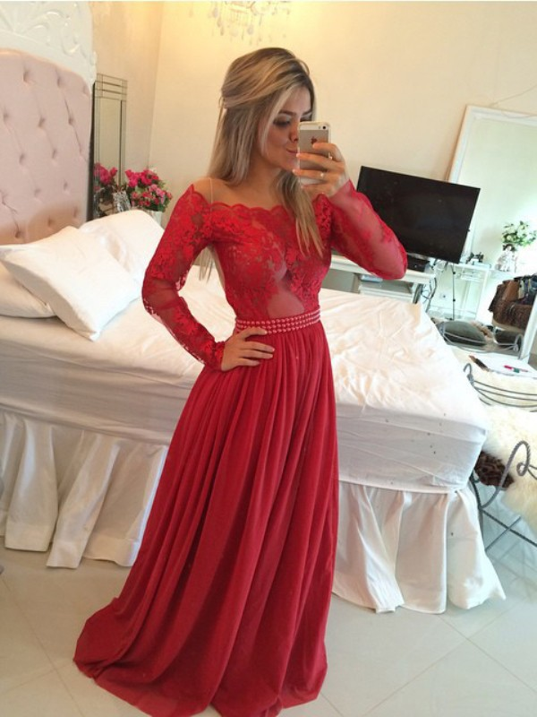 A-Line Chiffon Off-the-Shoulder Long Sleeves Sweep/Brush Train With Applique Dresses