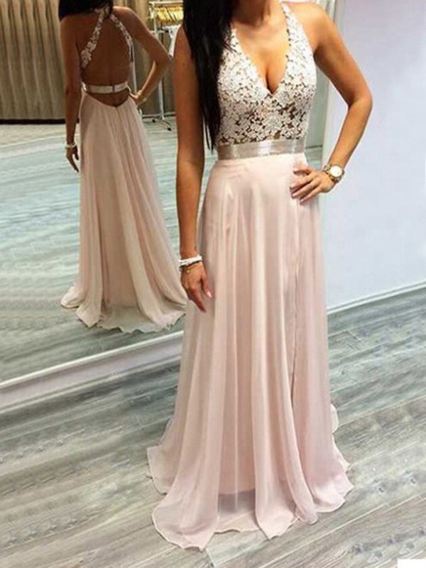 A-Line Chiffon Halter Sleeveless Sweep/Brush Train With Lace Dresses