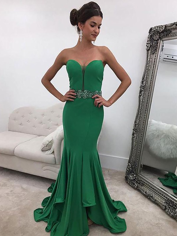 da16d23ae3a Mermaid Sleeveless Sweetheart With Ruffles Sweep Brush Train Satin Dresses