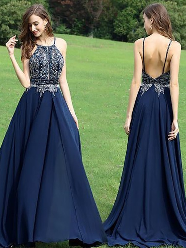 A-Line Sleeveless Halter Chiffon With Beading Floor-Length Dresses