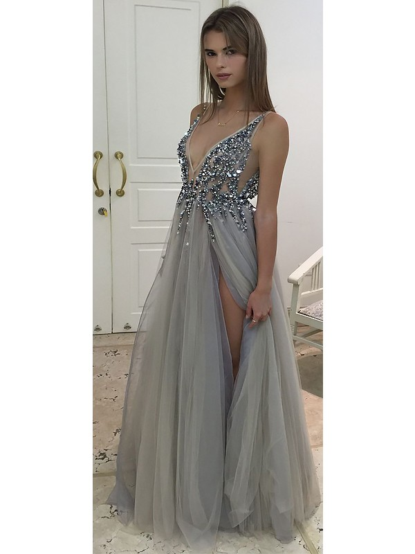 A-Line V-Neck Sleeveless Floor-Length With Beading Tulle Dresses