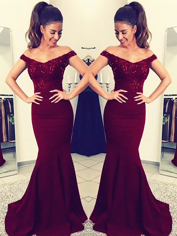 Mermaid Off-the-Shoulder Sleeveless Sweep/Brush Train With Lace Elastic Woven Satin Dresses