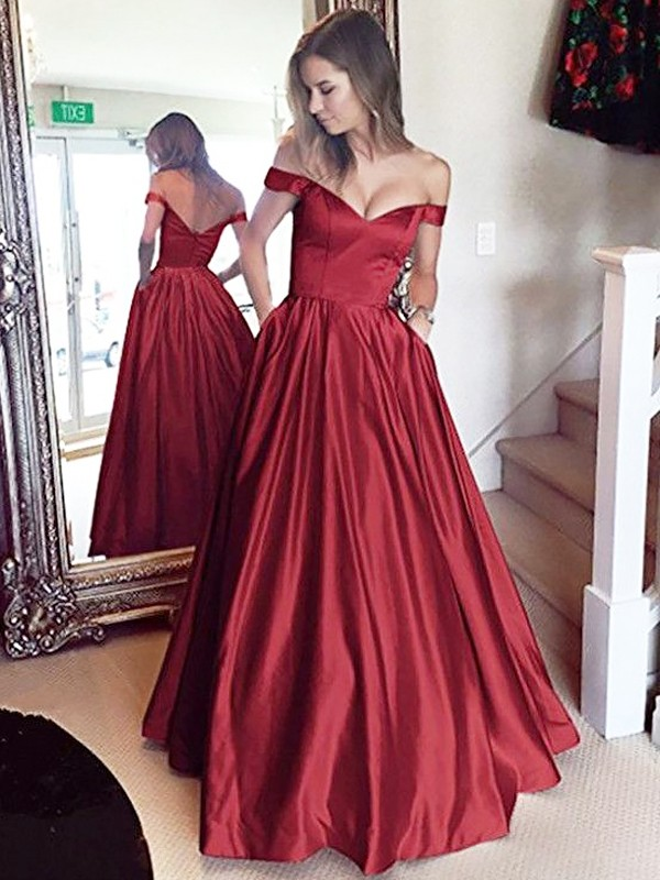 A-Line Off-the-Shoulder Sleeveless Floor-Length Satin With Beading Dresses