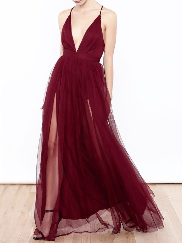 A-Line V-neck Floor-Length Tulle Sleeveless With Ruffles Dresses