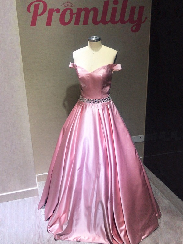 A-Line Sleeveless Off-the-Shoulder Floor-Length Satin With Beading Dresses